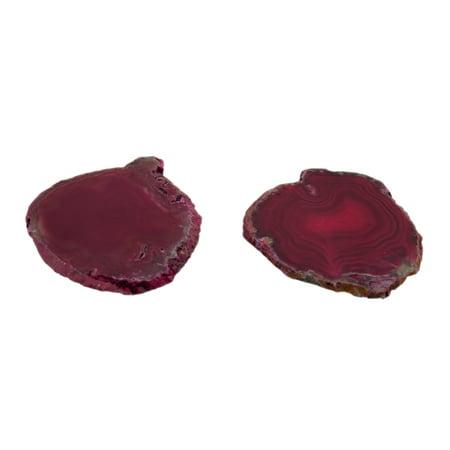 0.25 Slice - Pink Polished Brazilian Agate Slice Natural Edge Stone Coaster