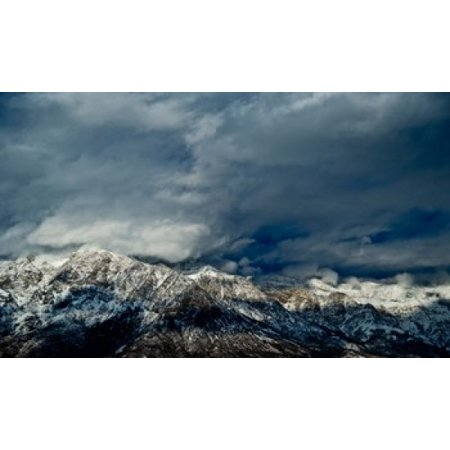 Clouds Over The Wasatch Mountains Utah Usa Canvas Art   Panoramic Images  36 X 22