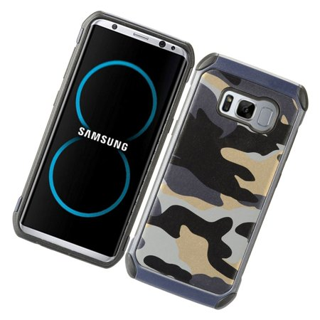 Insten Camouflage Dual Layer [Shock Absorbing] Hybrid Hard Plastic/Soft TPU Rubber Case Phone Cover For Samsung Galaxy S8, Gray/Black - image 3 de 4