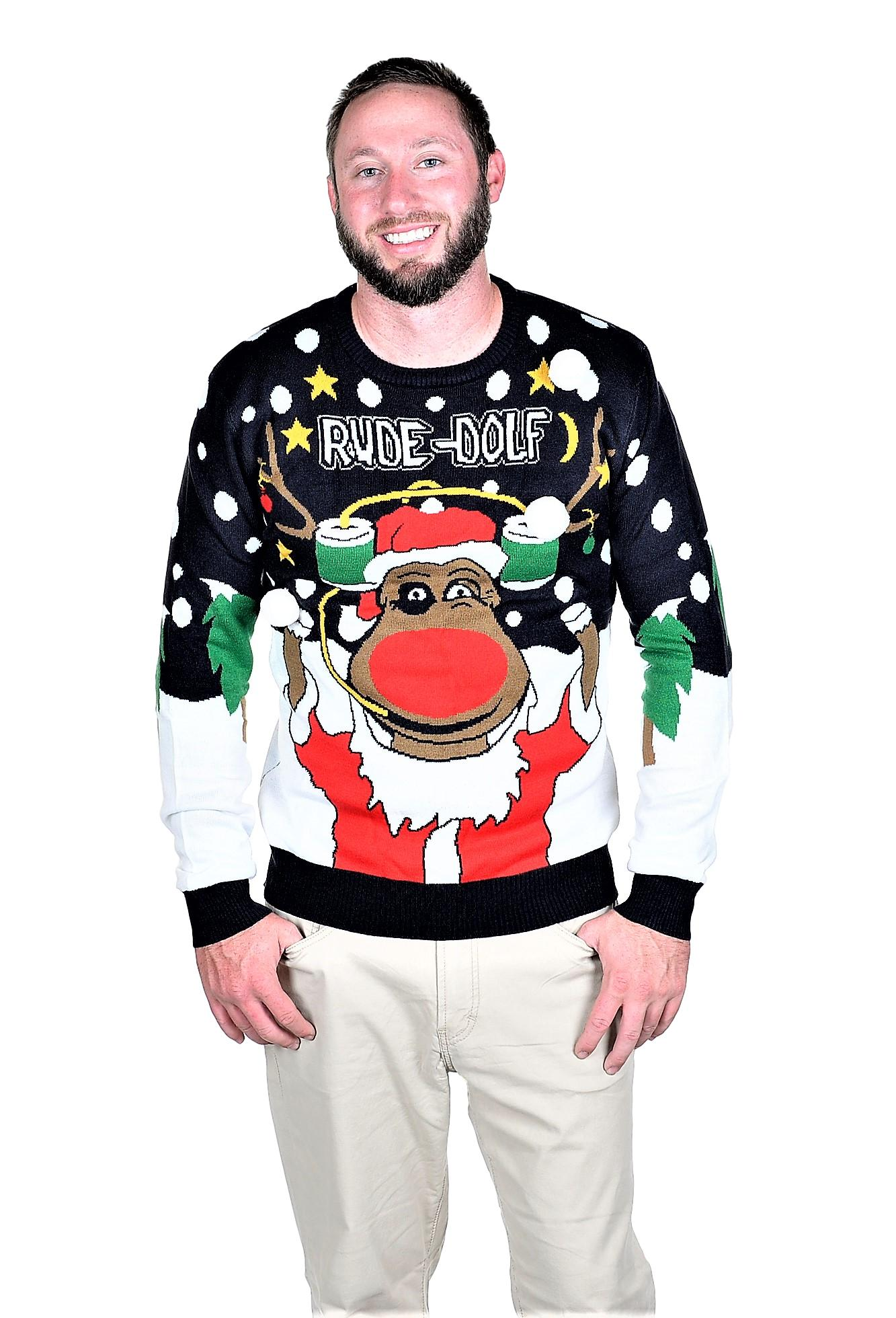 RWB RUDE DOLF Ugly Christmas Sweater Pullover Navy