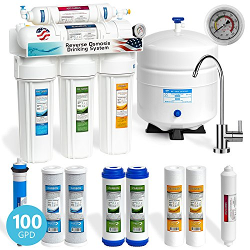 Express Water 5 Stage Under Sink Reverse Osmosis Filtration System 100 GPD RO Membrane Modern Faucet - Pressure Gauge - Ultra Safe Residential Home Drinking Water Purification - Extra Set of 4 Filters