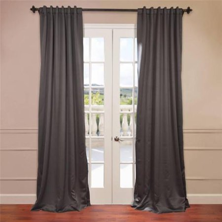 Exclusive Fabrics Charcoal Rod Pocket And Back Tab Blackout Curtain Panel Pair