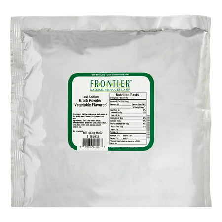 - Frontier Broth Powder, Vegetable Flavored (low Sodium), 16 Oz Bag