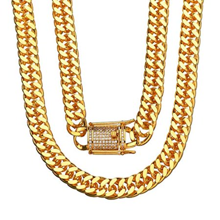 Ice City Mens Miami Cuban Link Chain Heavy Gold Plated Stainless Steel 10MM (24 Inch)