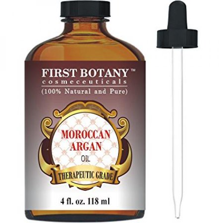 Moroccan Organic Argan Oil For Hair, Skin, Face, Nails, Cuticles & Beard 4 fl. oz. - Best Anti-Aging, Anti-Wrinkle, Triple Extra Virgin & Cold Pressed