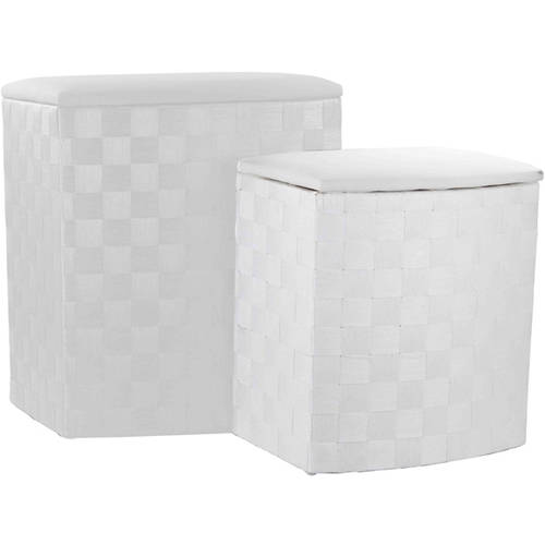2-Piece Wicker Hamper, White by Generic
