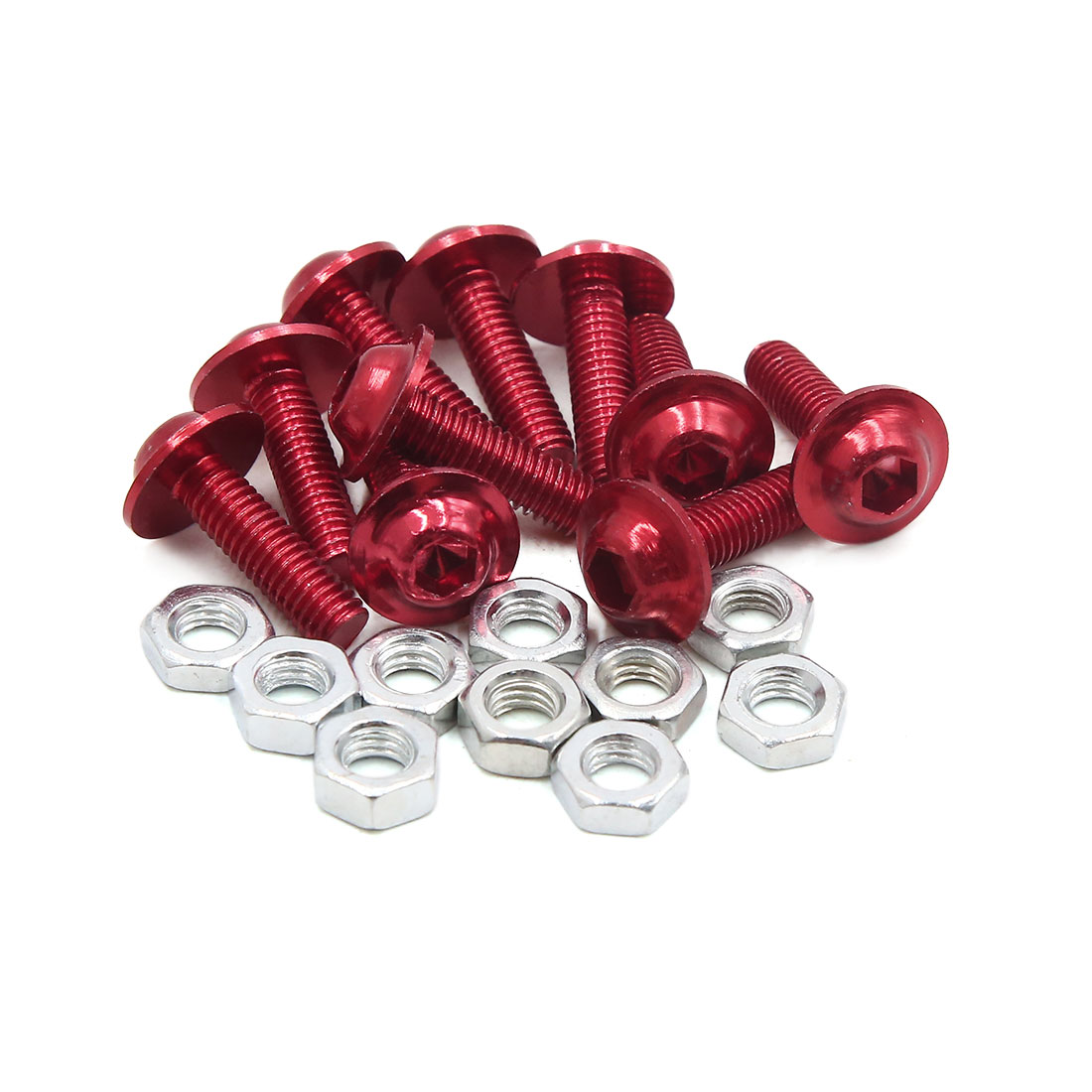10pcs M6 Red Aluminum Alloy Hex Socket Head Motorcycle Fairing Bolts Screws Nuts