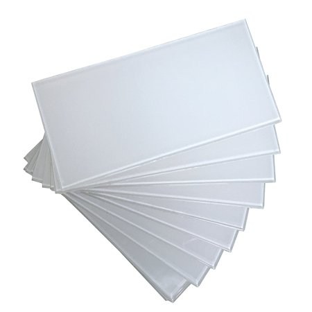 Art3d Peel and Stick Backsplash 3in x 6in Subway White Glass Backsplash Tile for Kitchen and Bathrooms (1 X 2 Glass Tile)