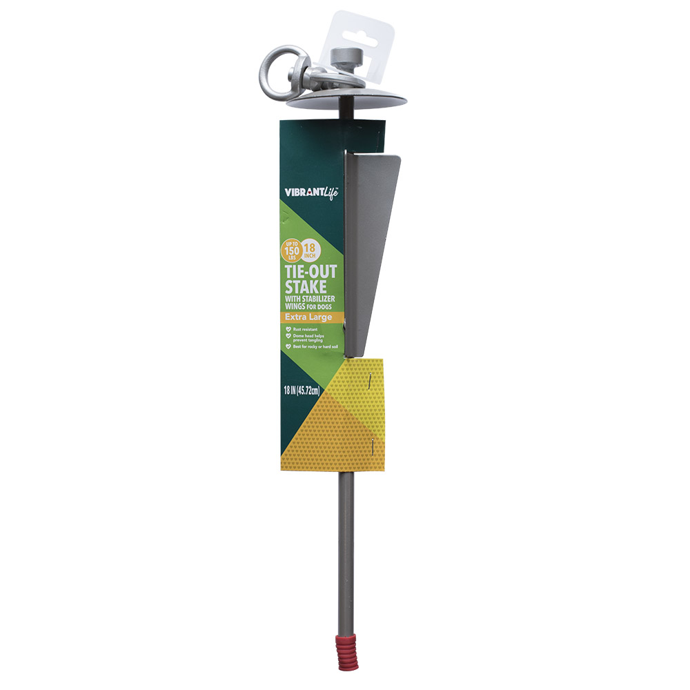 Vibrant Life Extra Large Heavy Duty Stake with Stabilizer Wings, 18 in.