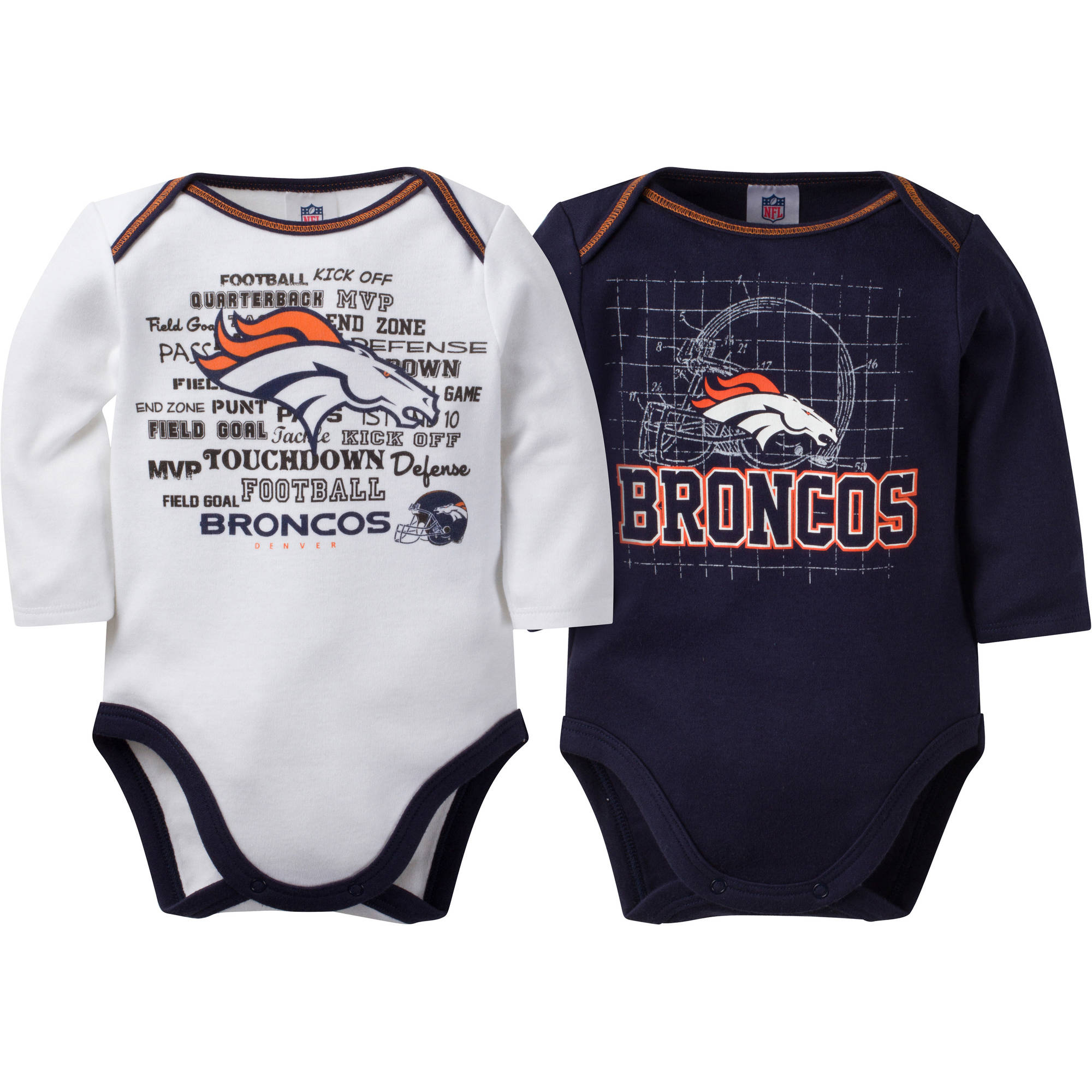NFL Denver Broncos Baby Boys Long Sleeve Bodysuit Set, 2-Pack