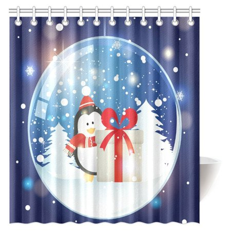 MYPOP Christmas Decorations Shower Curtain Snow Globe And Gift With Happy Penguin Fabric Bathroom Decor Set Hooks 66 X 72 Inches