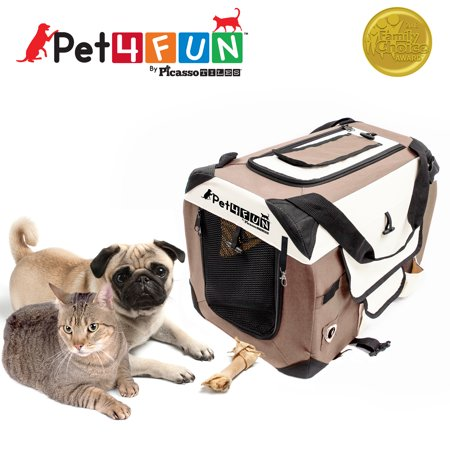 Pet4Fun Foldable Pet Carrier, Brown, 12.25 H Pet4Fun PN950 Foldable Travel Crate Pet Carrier for Cat or Dog (Small) BROWN