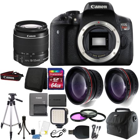 Canon EOS Rebel T6 / 1300D Digital SLR Camera with 64GB Top Accessory Kit