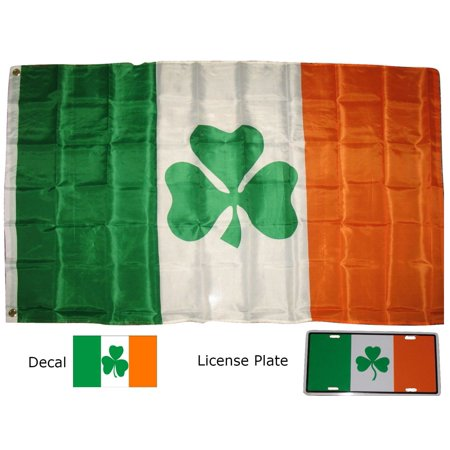 Image of 3x5 3'x5' Wholesale Set Shamrock Flag & Decal & License Plate
