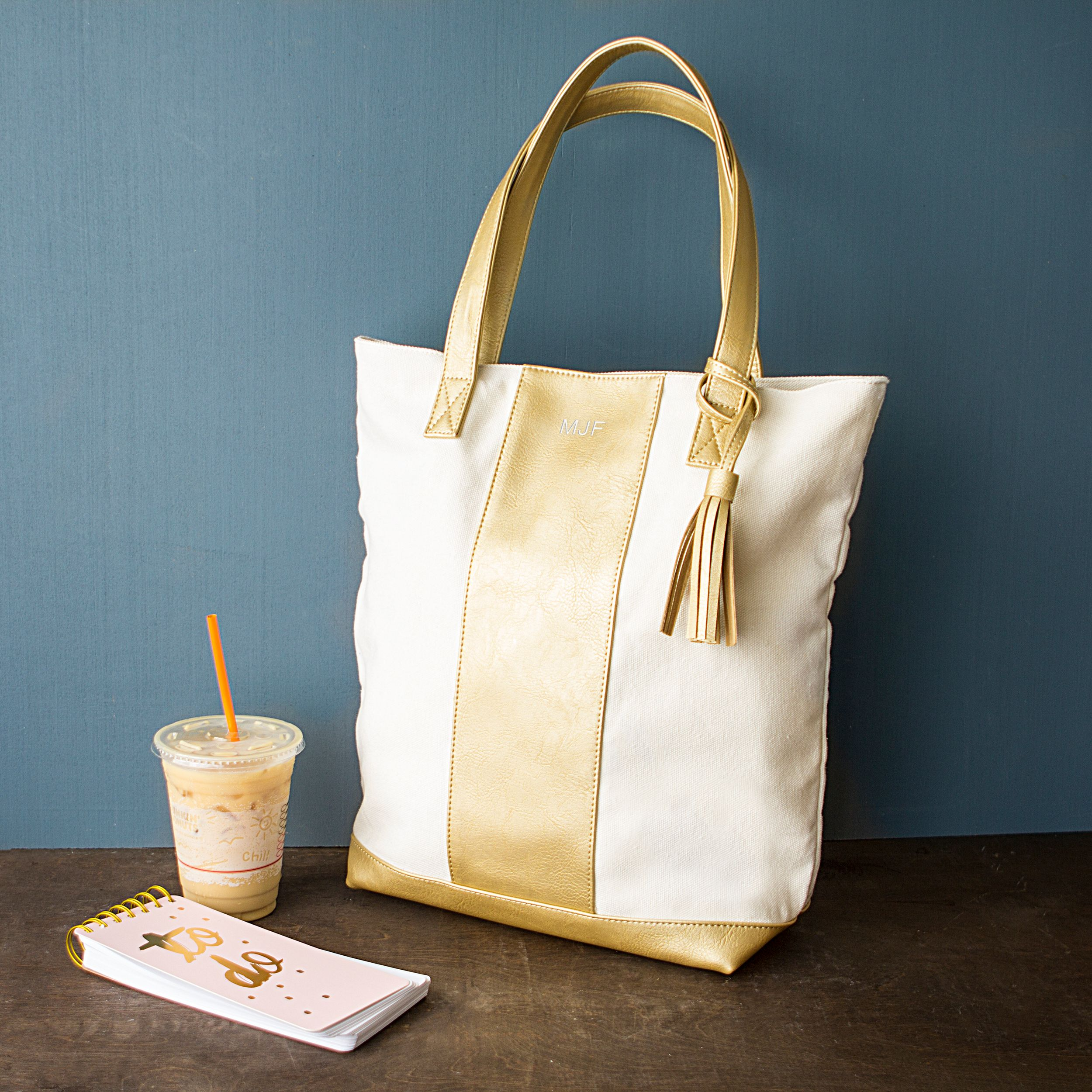 Personalized Gold Faux Leather Weekender Tote Gold