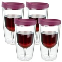 Southern Homewares Merlot Red Insulated Wine Tumbler - Double Wall Acrylic - 10oz, Set of 4