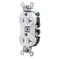 Hubbell-Wiring 5362W Industrial Grade Heavy-Duty Straight Blade Duplex Receptacle 20 Amp 125 Volt NEMA 5-20R White
