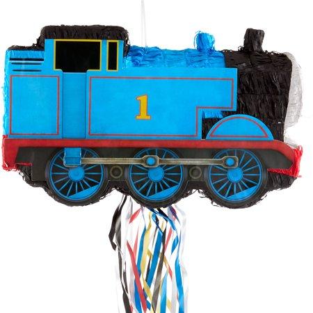 Ya Otta Pinata Pull String Thomas the Tank Engine Train Pinata, Birthday Party, 2lb Filler Capacity, 6 x 18 x 11 Inches Thomas Train Birthday