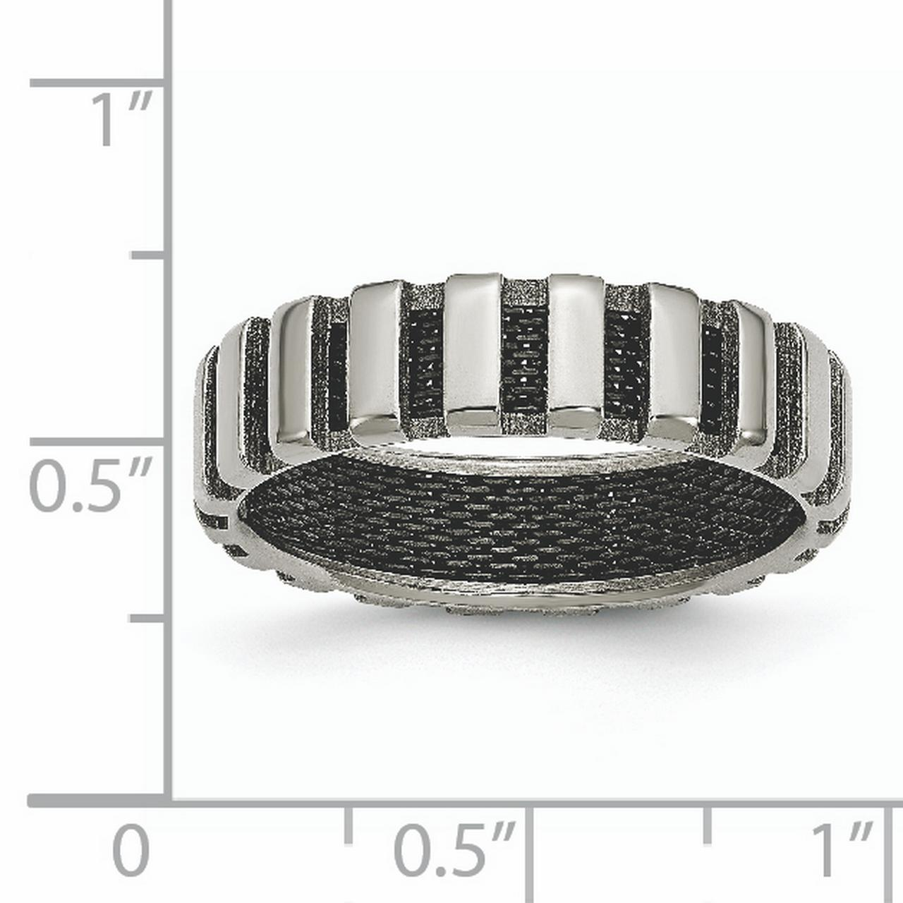 Titanium Black Plated Wire 6mm Wedding Ring Band Size 7.00 Fancy Fashion Jewelry Gifts For Women For Her - image 5 of 6