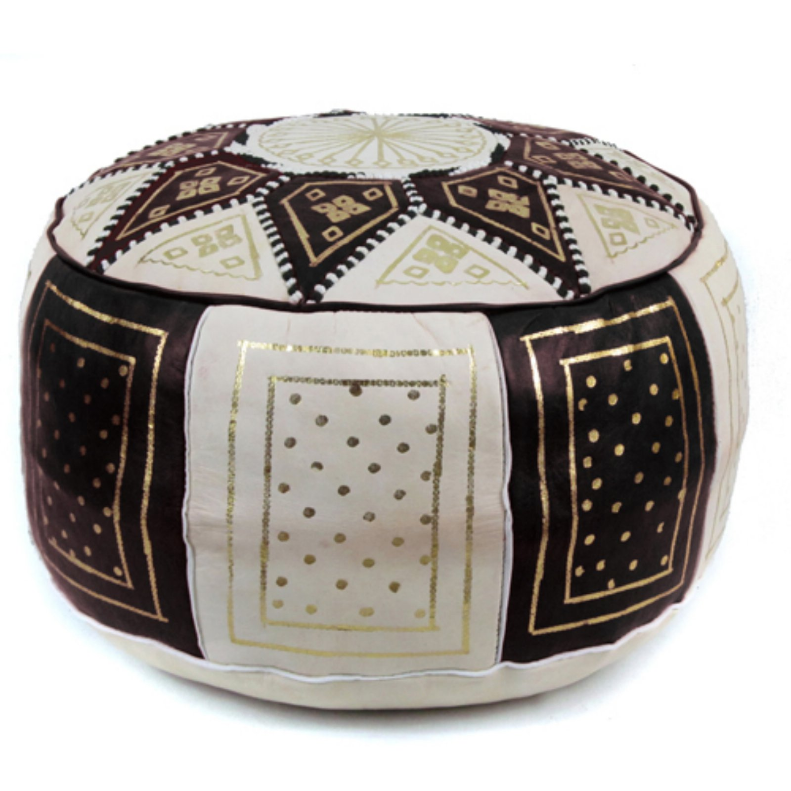 Ikram Design Fez Golden Moroccan Round Leather Pouf