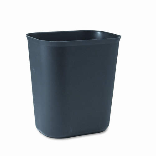 Rubbermaid Fire-Resistant Wastebasket, Rectangular, Fiberglass, 3.5gal, Black