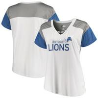 Detroit Lions Majestic Women's Lace-Up V-Neck T-Shirt - White/Blue