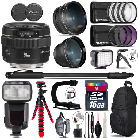 Canon 50Mm F 1 4 Usm   Pro Flash   Led Light   Tripod   16Gb Accessory Bundle