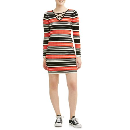 Juniors' Lace Up Stripe Sweater Dress