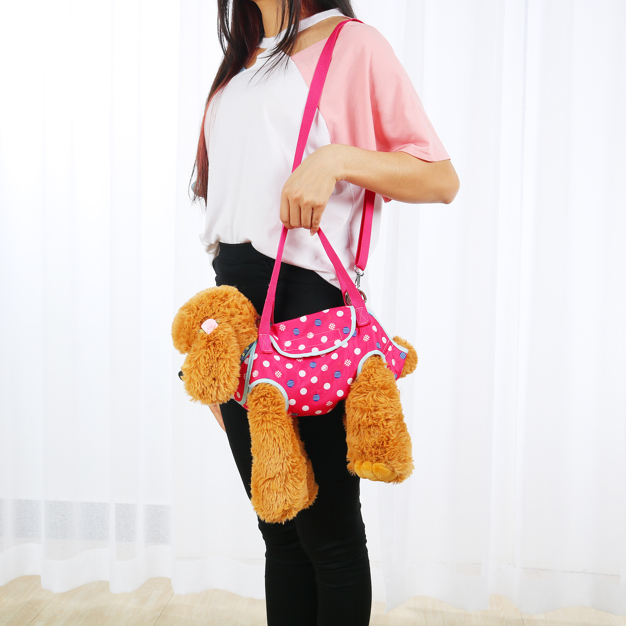 Pet Carrier Backpack, Puppy Holder, Pouch Single Shoulder Carry Tote L Fuchsia - image 3 of 7