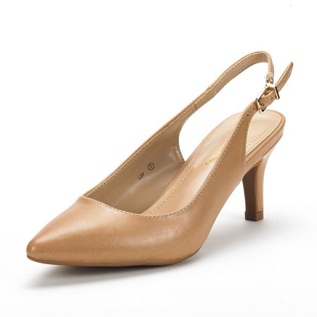 Dream Pairs Women's Casual Dress Pump Shoes Low Heel Slingback Shoes Comfort Work Shoes LOP NUDE/PU Size 7