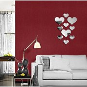 (JPGIF) 10pcs Love Heart Acrylic 3D Mirror Wall Sticker Mural Decal Removable Stickers