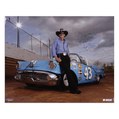 Richard Petty - Leaning On Car - Autographed 16x20 Photograph