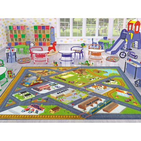 Kc Cubs Playtime Collection Country Farm Road Map With Construction Site Educational Learning Area Rug Carpet For Kids And Children Bedroom And Playroom 5 0 X 6 6 Walmart Com Walmart Com