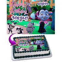 Vampirina Edible Cake Topper Personalized Birthday 1/4 Sheet Decoration Custom Sheet Party Birthday Sugar Frosting Transfer Fondant Image Edible Image for cake