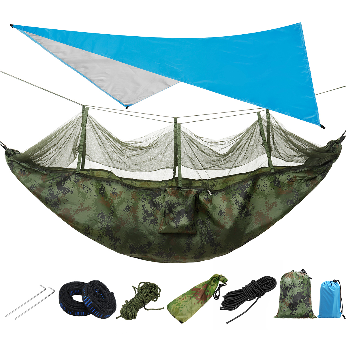 2 Person Travel Double Hanging Bed Outdoor Camping Hammock Tent Mosquito Net Set