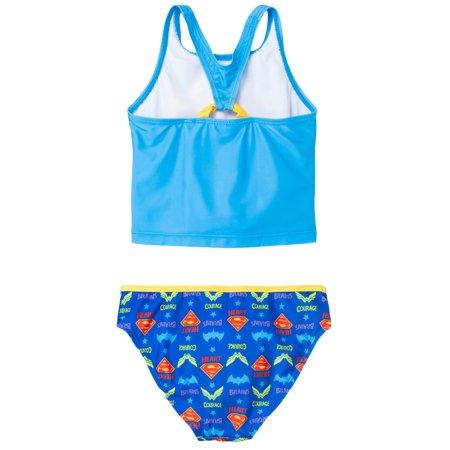 499a33a8b1486 Girls Bathing Suit Supergirl Batgirl Wonder Woman 2-Piece Swimsuit - image  1 of 2 ...