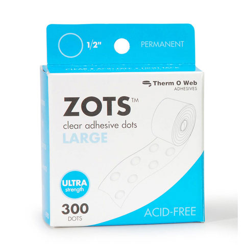 Zots Adhesive Dots Large .5In Diam .015In Thick 300Ct Roll