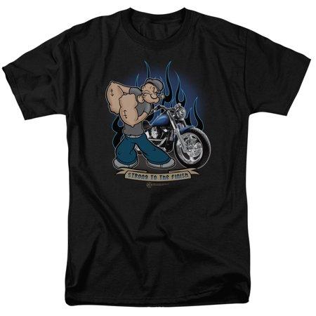 Popeye Mens  Biker Popeye T Shirt Black