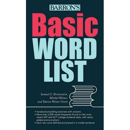Basic Word List (Word List For Halloween)