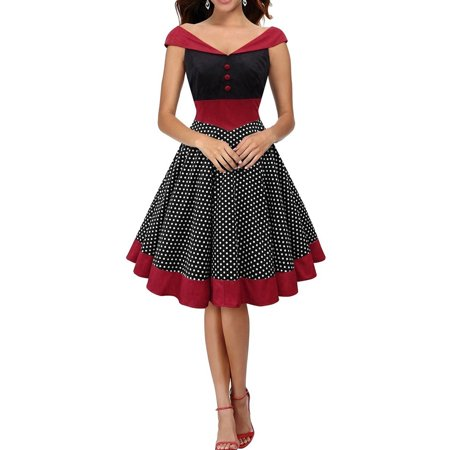 2018 Vintage Women Dress Dot Retro Swing  Pinup 50s 60s Christmas Party Evening Housewife Fashion Red Ladies Spring Summer Autumn Winter Ball Dresses](Christmas Themed Dresses)