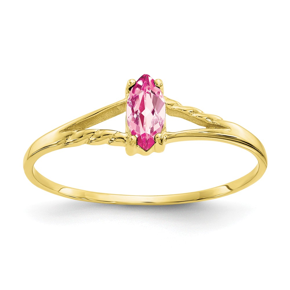 10K Yellow Gold Polished Geniune Pink Tourmaline Birth Month Ring by