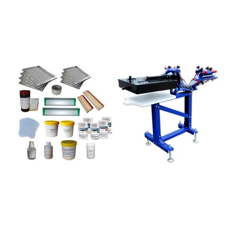 Techtongda Floor Type 3 Color 1 Station Micro-registration Screen Printing Press Kit A with Dryer Material Supply (Best Screen Printing Supply)