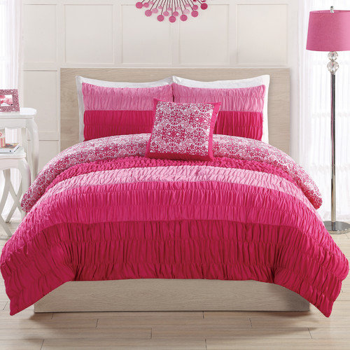 Bed Threads Colorfall Ruching Comforter Set