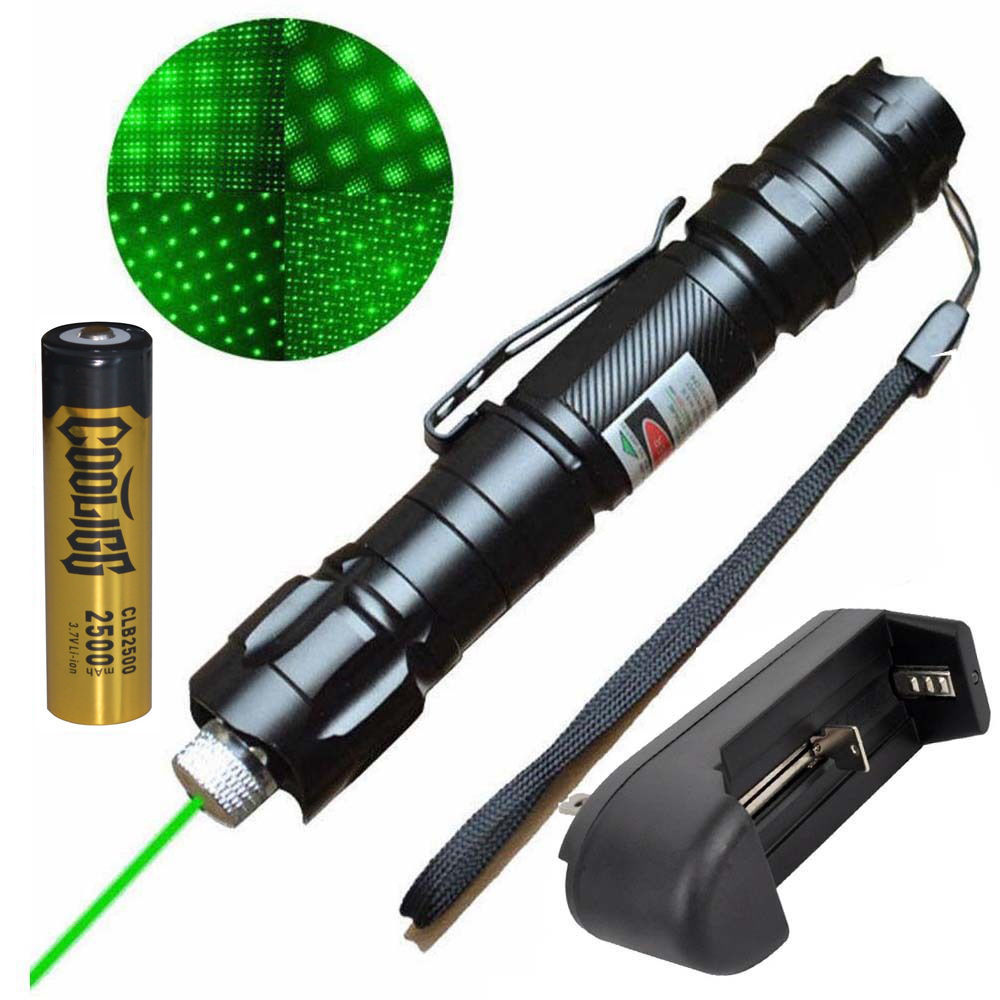 Powerful 10 Miles Range Green Laser Pointer Pen + Battery + Charger