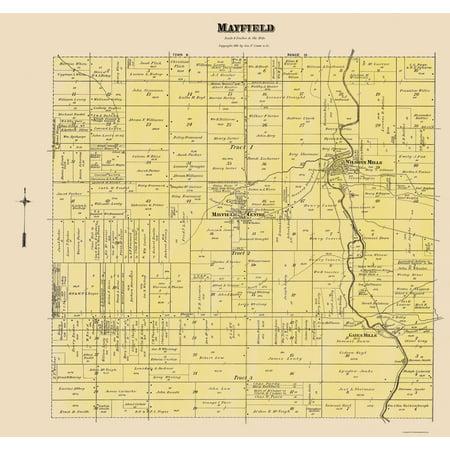 Old City Map - Mayfield Ohio Landowner - Cram 1892 - 23 x 24.39