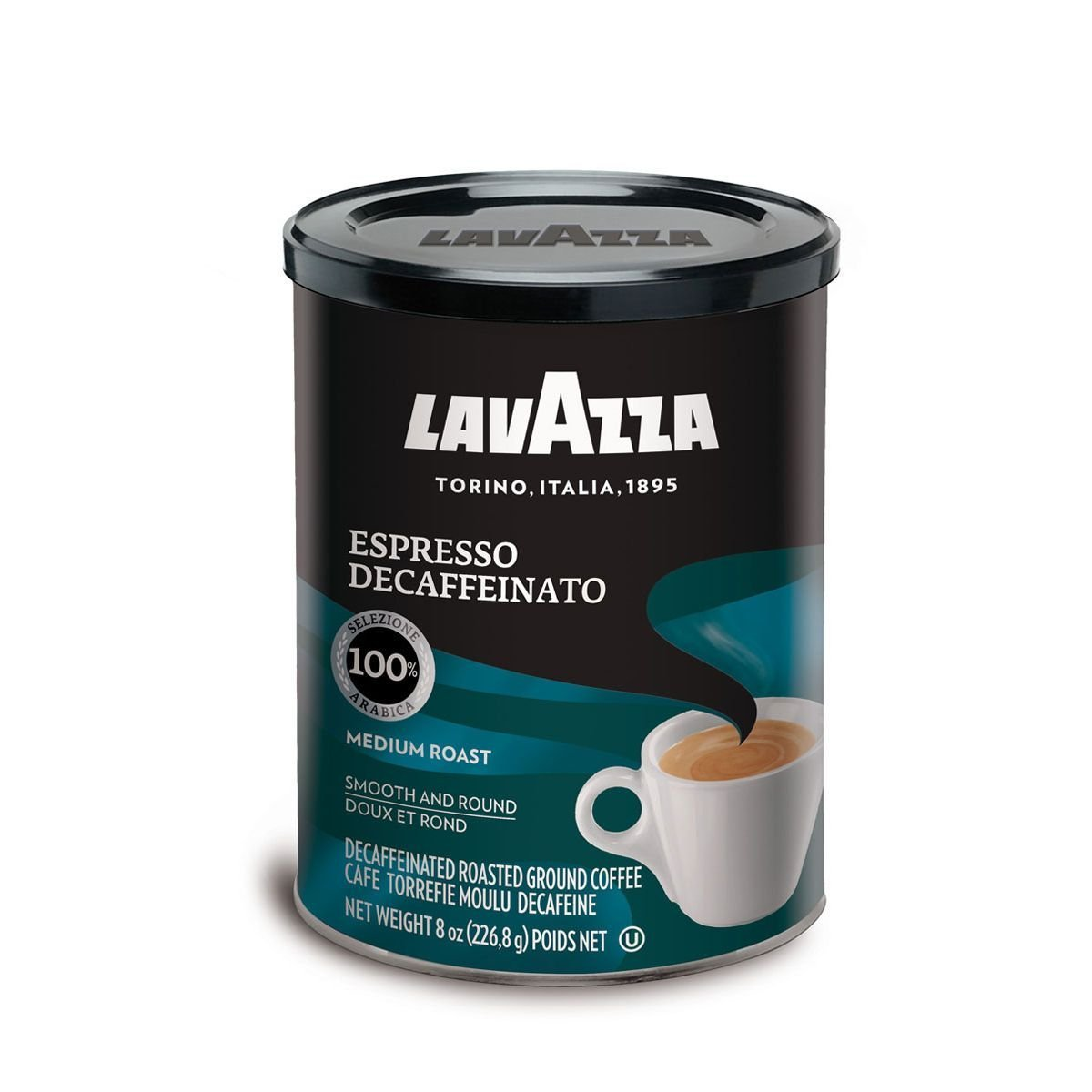 Lavazza Espresso Decaffeinato Ground Coffee Blend, Decaffeinated Medium Roast, 8-Ounce Can