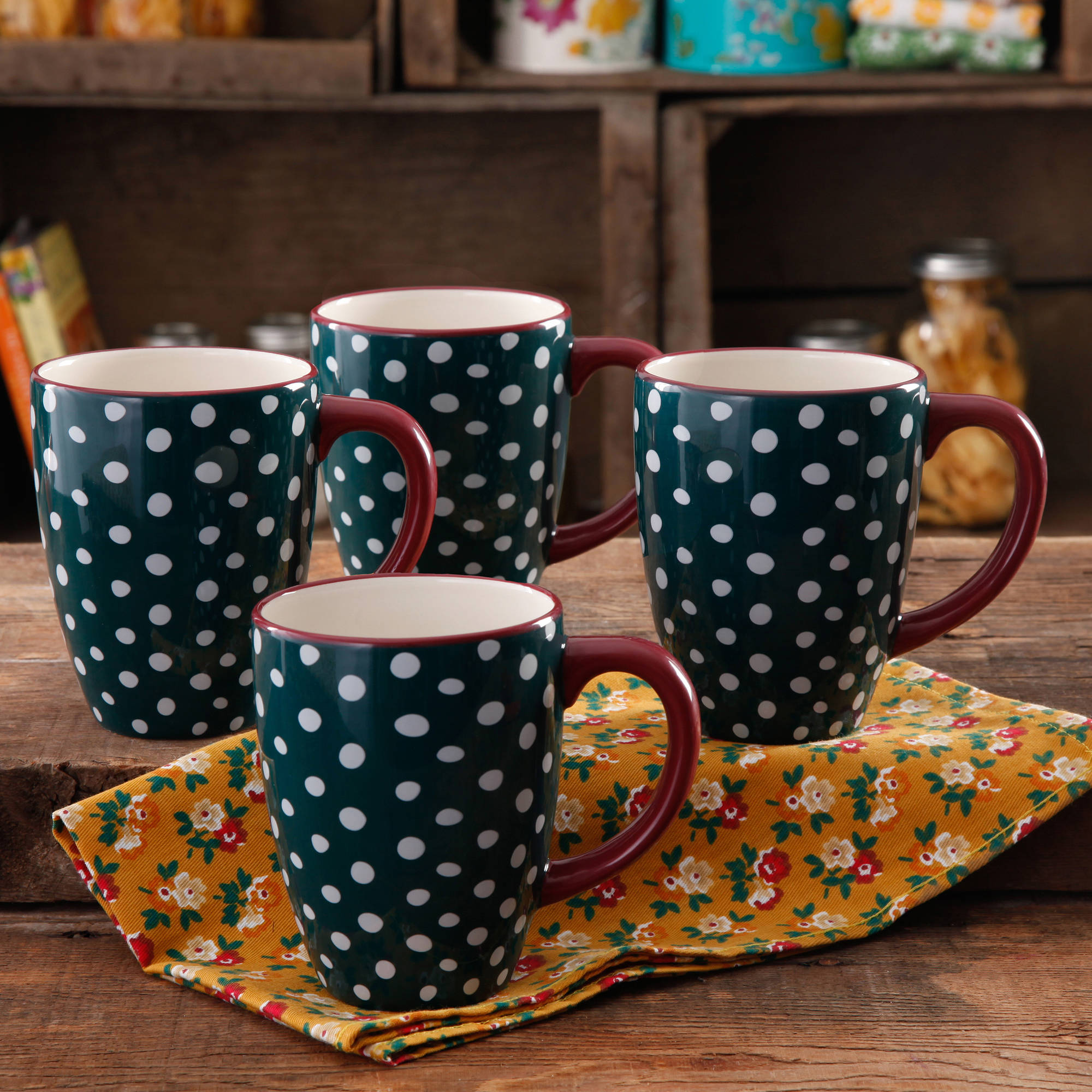 The Pioneer Woman Retro Dots 26-Ounce Jumbo Latte Mug Set, 4-Pack