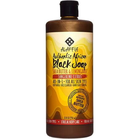Alaffia Authentic African Black Soap with Fair Trade Shea Butter, Tangerine Citrus 32