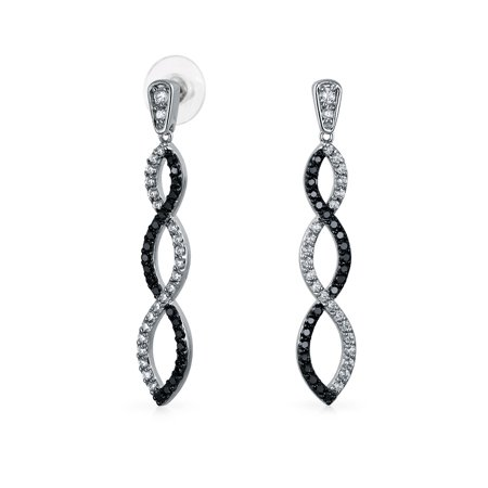 Black White Linear Infinity Twist Drop Earrings For Women Prom Party Cubic Zirconia Pave CZ Silver Plated Brass