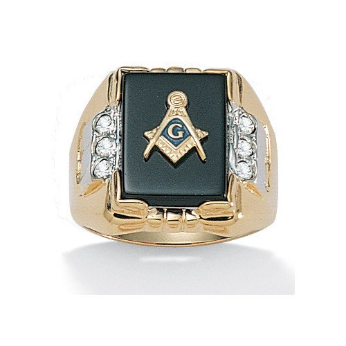 Palm Beach Jewelry Gold Plated Men's Masonic Onyx Ring